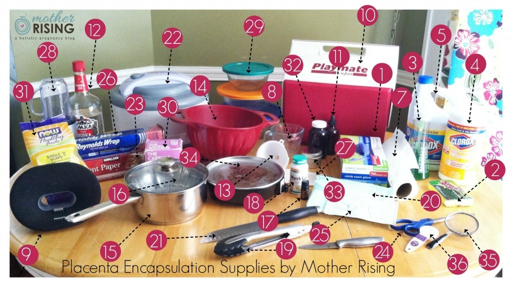 placenta encapsulation supplies by Mother Rising