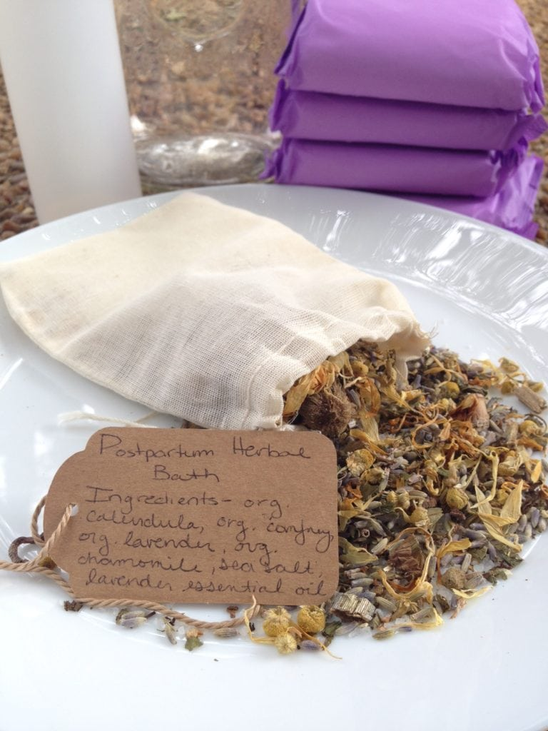 A postpartum herbal bath is a relaxing way to heal, soothe and restore oneself after the challenges of childbirth. Follow this recipe to make a herbal bath, padsicles or a postpartum herbal peri bottle.