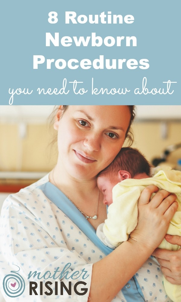 What routine procedures should new parents expect to encounter the first few hours of baby's life?  Read this post to understand your options to make the best choice for your new little one. #postpartum #infant #hospitalbirth