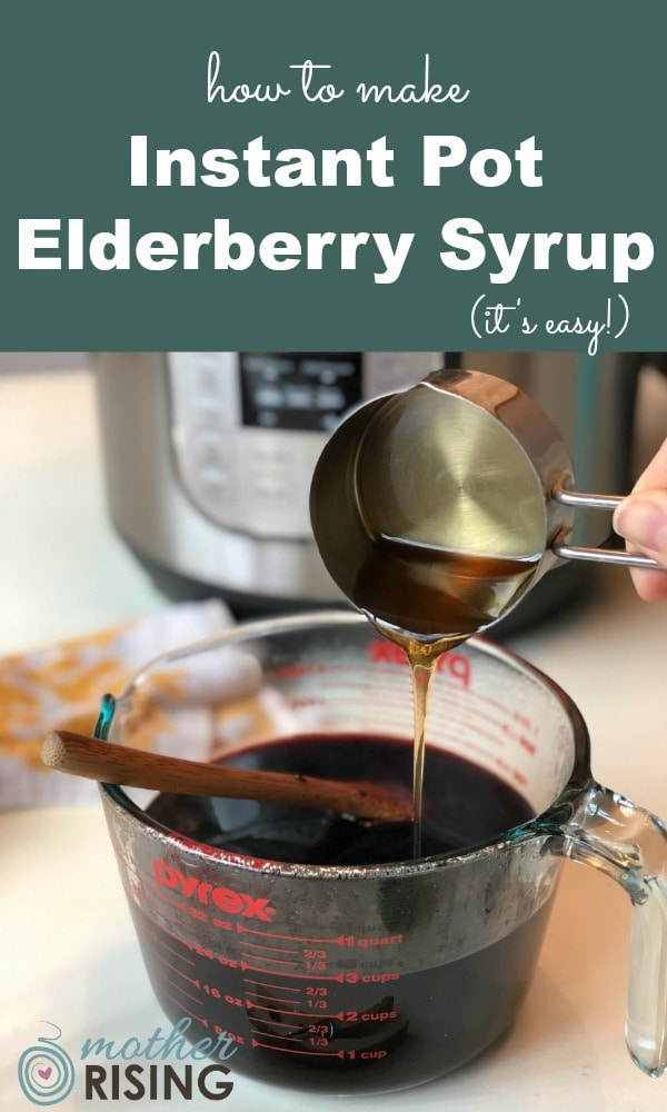 Taken daily elderberry syrup boosts the immune system and can shorten illnesses. Use these instructions to make instant pot elderberry syrup. It's so easy! #naturalremedies #herbalremedies #coldandfluremedy #instantpot #instapot