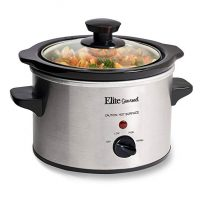 Elite Gourmet MST-250XS Electric Slow Cooker, Adjustable Temp, Entrees, Sauces, Stews & Dips, Dishwasher Glass Lid &Ceramic Pot, 1.5Qt Capacity, Stainless Steel